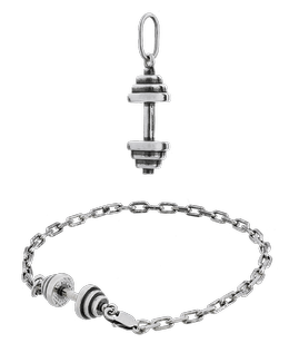 Fit Kolekcja - Set of Oxidised Sterling Silver Jewellery - Pendant DUMBBELL 002 & DUMBBELL Bracelet