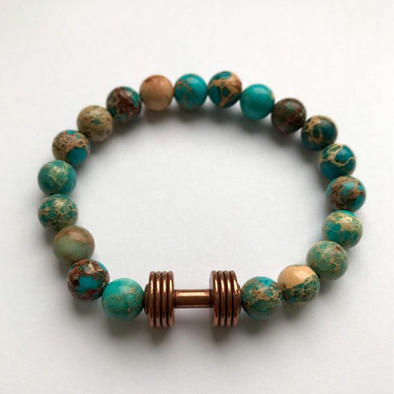 Fit Kolekcja - Beaded Dumbbell Bracelet - Copper & Turquoise Imperial Jasper