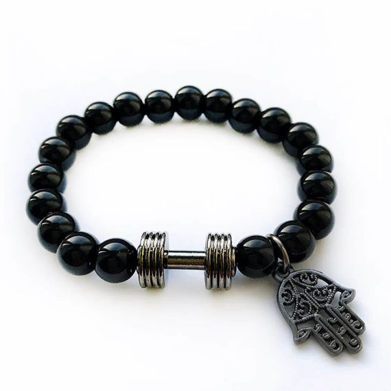 Fit Kolekcja - Beaded Dumbbell & Hamsa Bracelet black & black