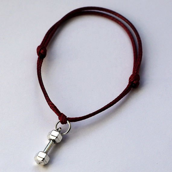 Fit Kolekcja - DUMBBELL String Bracelet - Red Wine