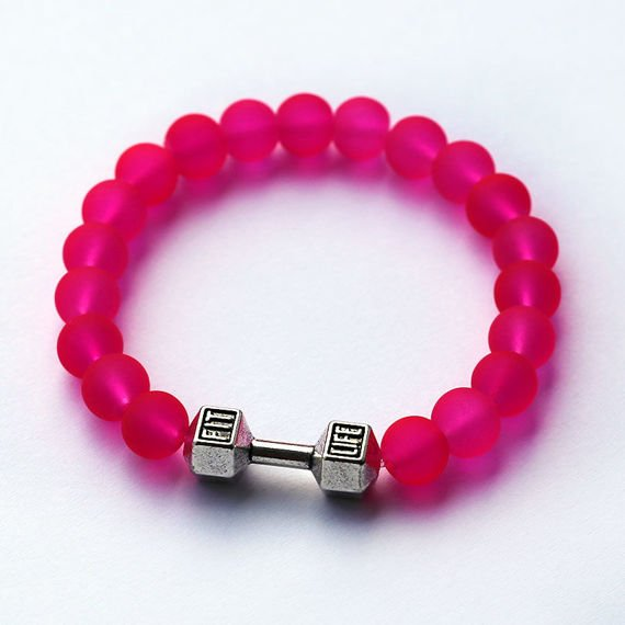 Fit Kolekcja - FIT LIFE Beaded Dumbbell Bracelet - Neon Pink