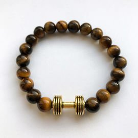 Fit Kolekcja - Beaded Dumbbell Bracelet - Old Gold & Tiger's Eye