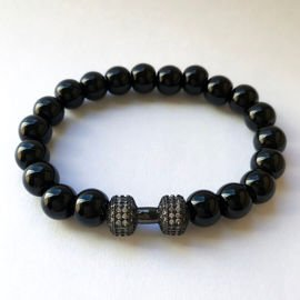 Fit Kolekcja - Beaded Dumbbell Bracelet - black zirconia & black 8mm