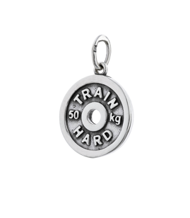 Fit Kolekcja - Oxidised Sterling Silver Pendant WEIGHT PLATE TRAIN HARD